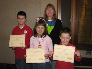 "Here are Jake, Lydia and Ben Ross with their Certificates of Appreciation for being our ""Kids Choosing Kindness"" recipients this month and Ann Gettis, director of Jeremiah's Hope for Kindness."