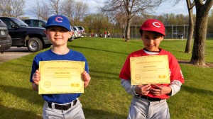 "Aaron and Adam Reisetter with their ""Kids Choosing Kindness"" certificates!!"