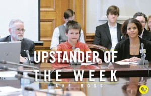 "Jake named ""Upstander of the Week"" by the Bully Project 2013"