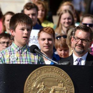 Jake giving speech at signing of the MN Safe Schools bill, 2014
