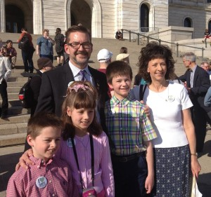 Ross family with Senator Dibble after signing of the Safe Schools bill April 9, 2014
